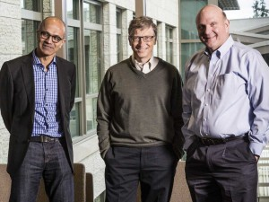 Nadella (left) and Ballmer (right) with Bill Gates.