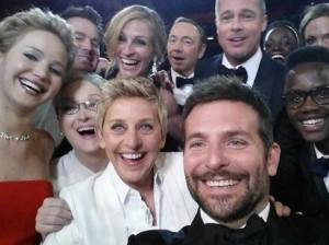 Ellen and celebrity friends take a selfie at the Oscars.